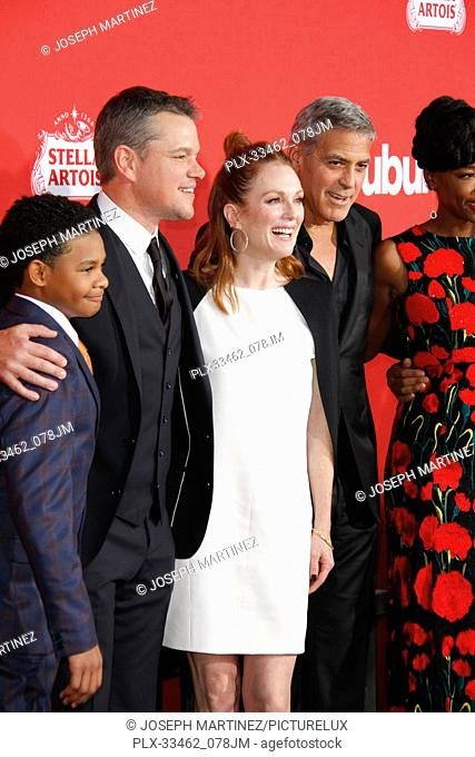 """Tony Espinosa, Matt Damon, Julianne Moore, George Clooney, Karim at the Premiere of Paramount Pictures' """"""""Suburbicon"""""""" held at the Regency Village Theater in..."""
