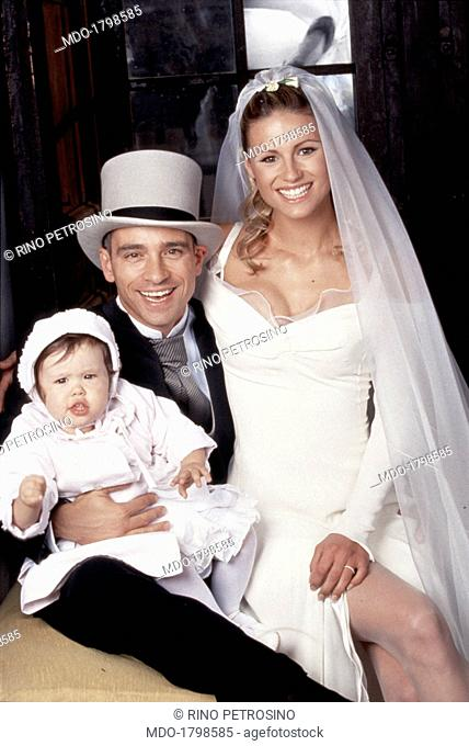 Family photo of singer Eros Ramazzotti and TV hosts and model Michelle Hunziker with their 17 months daughter Aurora Sophie