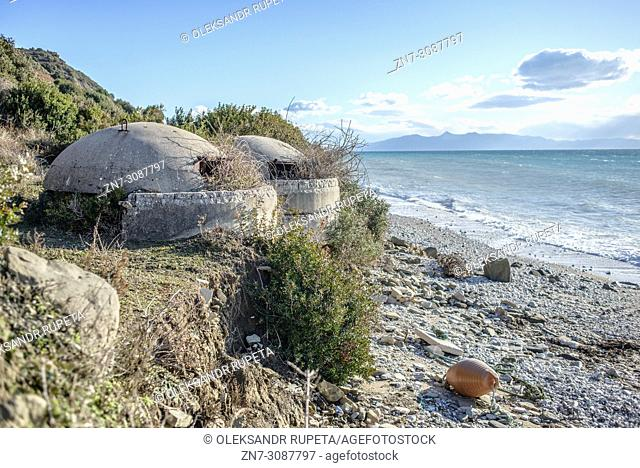 Abandoned bunkers on the coast near Borsh, Saranda district, Albania