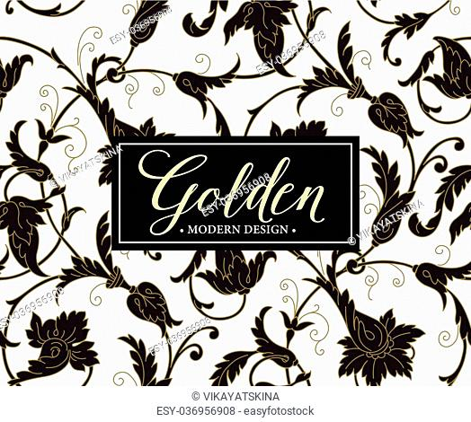 Luxury seamless background with gold frame. Vector illustration EPS10