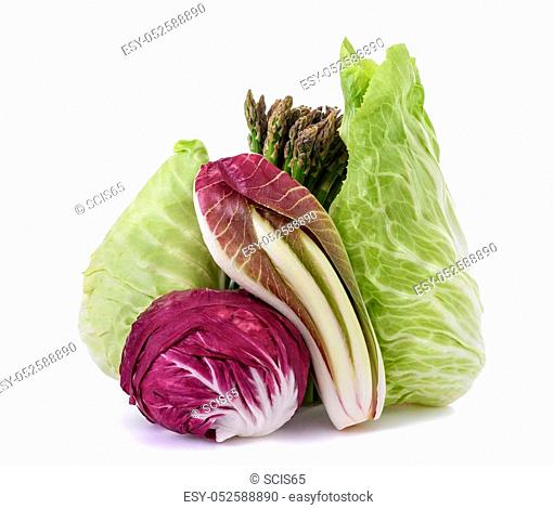 Chicory asparagus radicchio end salade isolated on white