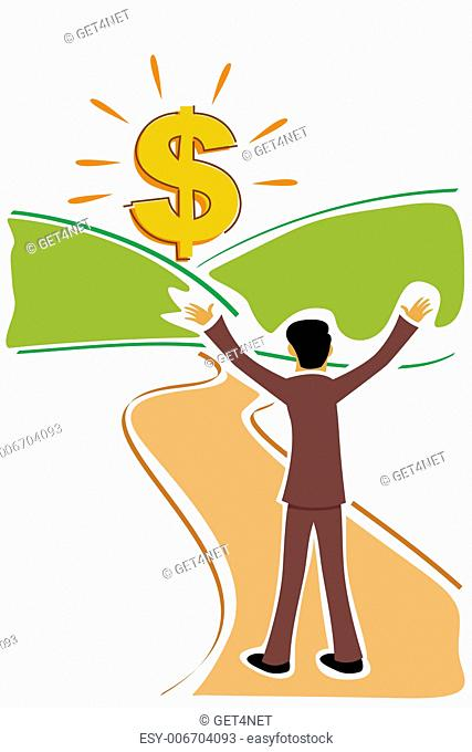 illustration of business man with dollar
