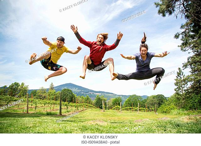 Three adults jumping in rural setting, mid air, laughing