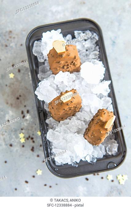 Ice cream brownie popsicles