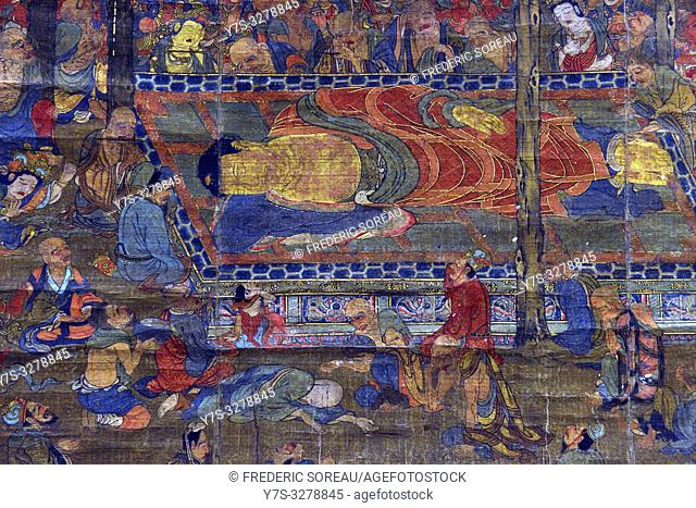 Nirvana,colors on silk,Kamakura period,14 th century,Tokyo National Museum,Tokyo,Honshu,Japan,Asia