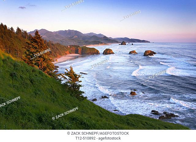 Ecola State Park overlooking Canon Beach, Oregon, at sunset