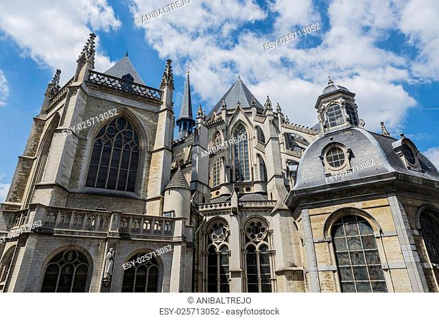 Cathedral of St. Michael and St. Gudula, a Roman Catholic church on the Treurenberg Hill in Brussels, Belgium