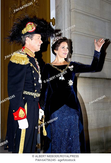 Danish Crown Prince Frederik and Crown Princess Mary attend the New Year's banquet in Christian VII-s Palace, Amalienborg, Copenhagen, 1 January 2016