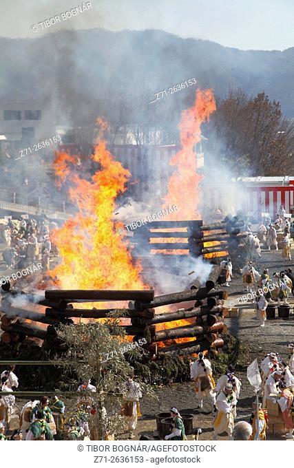 Japan; Kyoto; Agon Shu, Hoshi Matsuri, fire festival, prayer stick burning,