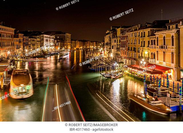 Grand Canal with ships at night, Venice, Veneto, Italy