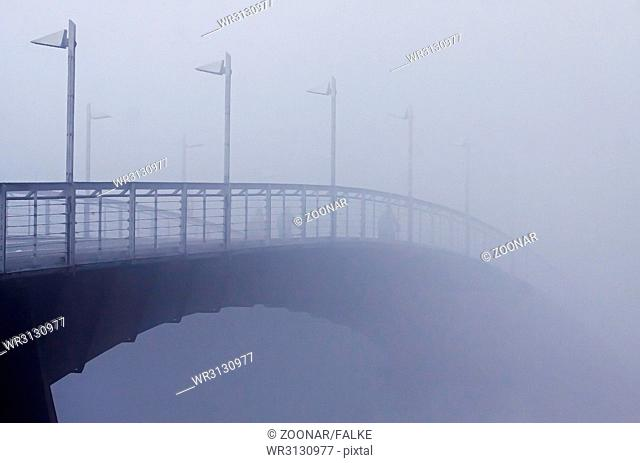 bicycle and pedestrian bridge across the river Rhine in Constance