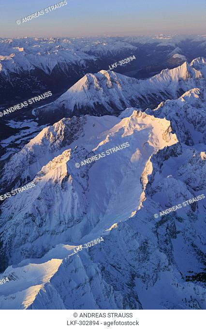 View at Wetterstein range, Hohe Munde and Inntal in the morning light, aerial photo, Tyrol, Austria, Europe