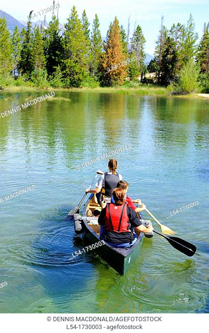 Family Canoeing Jenny Lake Grand Teton National Park Wyoming WY United States