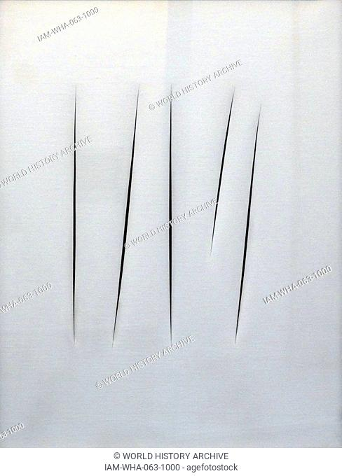 Concetto spaziale (Spatial Concept) 1962 painted by Lucio Fontana 1899-1968. Lucio Fontana was an Italian painter, sculptor and theorist of Argentine birth
