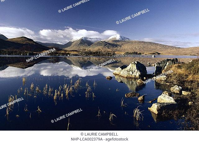 LOCHAN NA STAINGE with Black Mount in background reflected in lake Rannoch Moor, Highland Region, Scotland