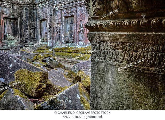 Cambodia. Ta Prohm Temple Ruins, 12th-13th. Century. Devatas (Deities) Line the Wall of an Interior Courtyard in Ruins