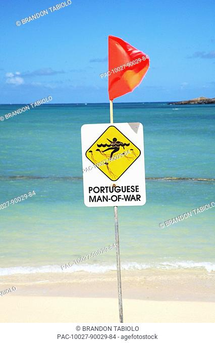 Hawaii, Oahu, Warning Sign posted on the beach of Portugese Man-o-war warning swimmers