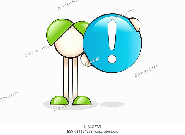 Attention exclamation mark and Cartoon Characters