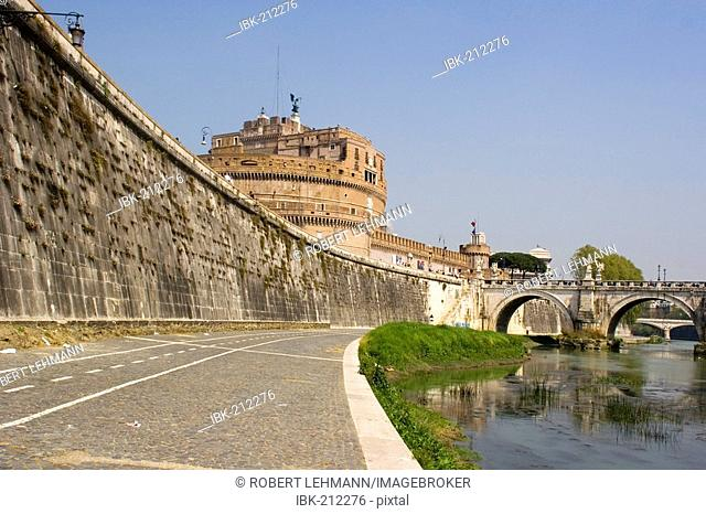 Boardwalk at the river Tiber with view towards the Castel Sant? Angelo and the Aelian Bridge in Rome Italy Europe
