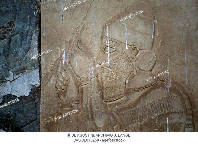 Man with beard and headdress, relief, Nimrud, Iraq. Assyrian civilisation, 13th-8th century BC