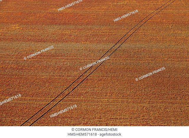 France, Calvados, Swiss Normandy, La Rue Gournay, red field aerial view