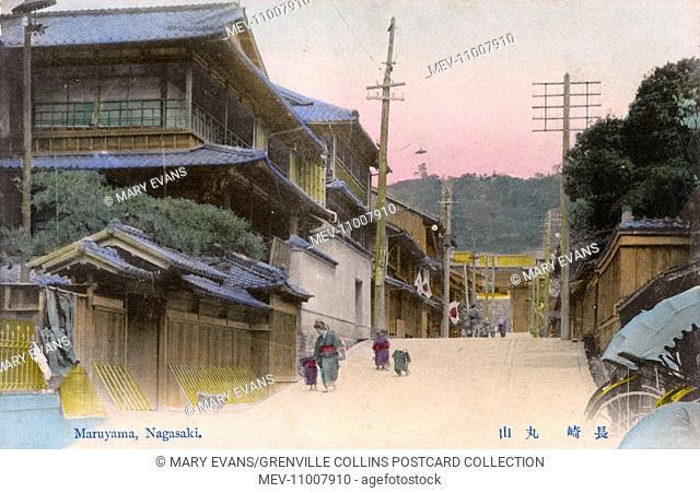 Nagasaki, Japan - Street in Maruyama-machi. In the Edo era, there were three biggest licensed prostitute quarters in Japan, Yoshiwara in Edo, Shimabara in Kyoto