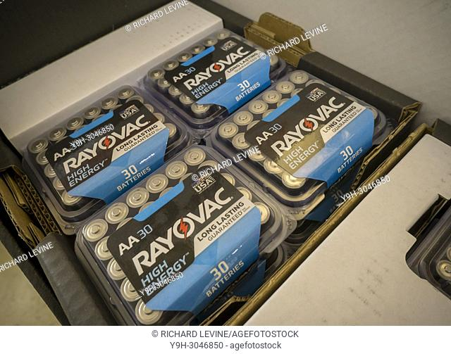 A selection of Rayovac batteries on sale in a store in New York on Wednesday, January 3, 2018. Spectrum Brands Holdings Inc