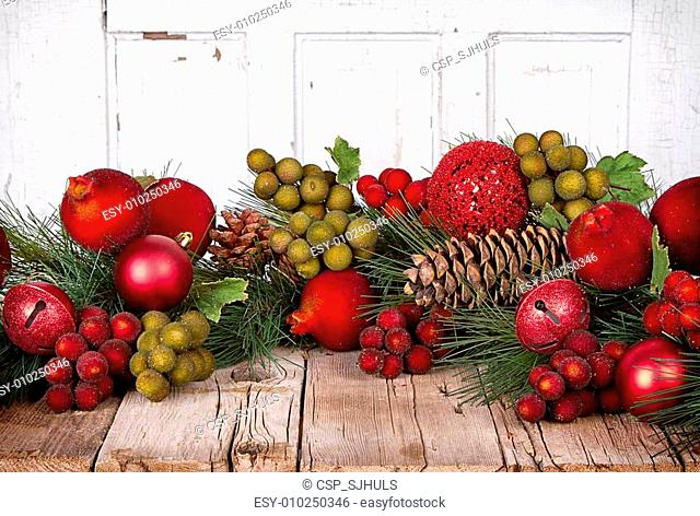 Christmas fruit on a wooden background