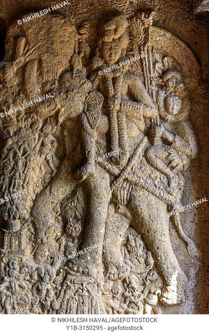 Indra on Elephant carving at Bhaja Caves, Maharashtra, India