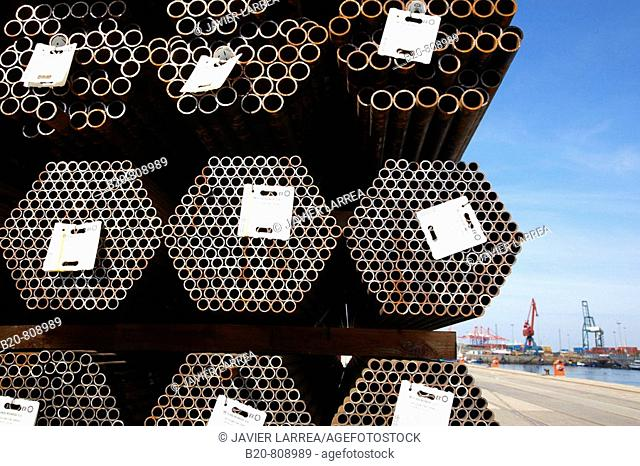 Steel pipes. Port of Bilbao, Biscay, Basque Country, Spain