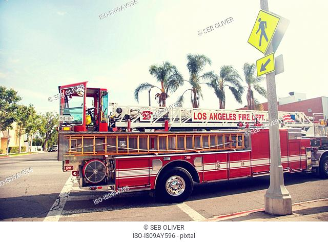 Parked fire engine, Los Angeles, California, USA