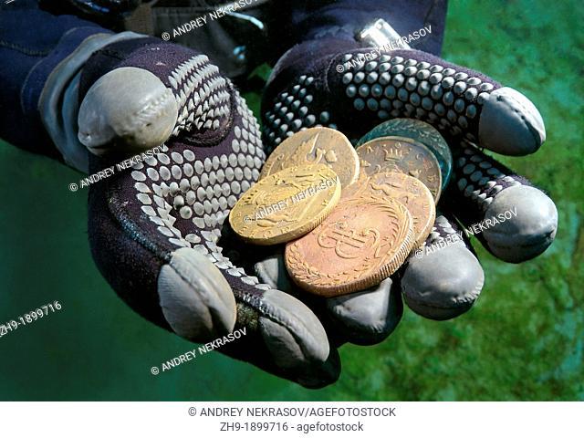 Underwater treasure, Russian coins of the Siberian stamping of times of empress Ekaterina II  Lake Baikal, Siberia, Russian Federation