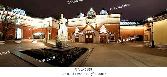 Russia, Moscow Center, night view (panorama) on the facade of the Tretyakov Gallery
