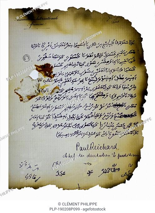 Late 19th century Kiswahili / Swahili manuscript written in adapted Arabic script. Act of submission by a Congolese chef to the Belgian lieutenant Emile Storms