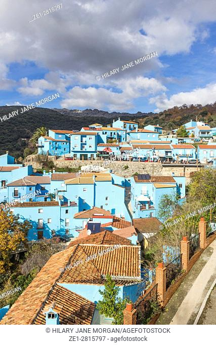 Júzcar, Málaga, Andalusia, Spain. The town had been one of the White Towns of Andalusia, with buildings traditionally whitewashed