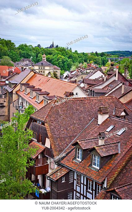 Red roofs of Bern in the rainy day, Switzerland, Europe