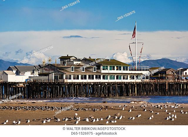 USA, California, Southern California, Santa Barbara, Harbor and Stearns Wharf