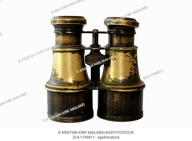 Antique binoculars of brass, possible for theatre