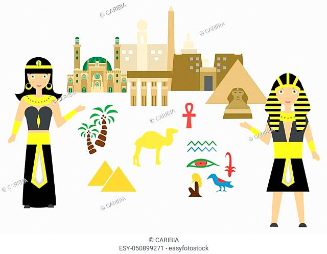 set in the style of a flat design on the theme of egypt