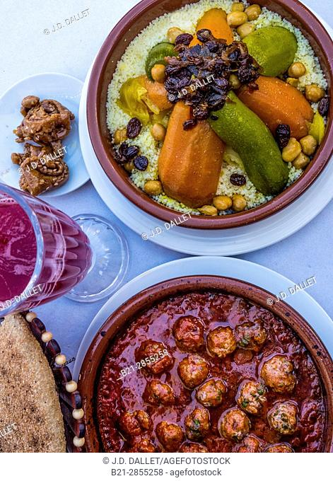 "Morocco, Food, ""Kesra"" bread, Pomegranate juice. ""Chebakia"" sweet honney cake, ""Kefta tagine"" (minced meat balls tagine) and ""Couscous"""
