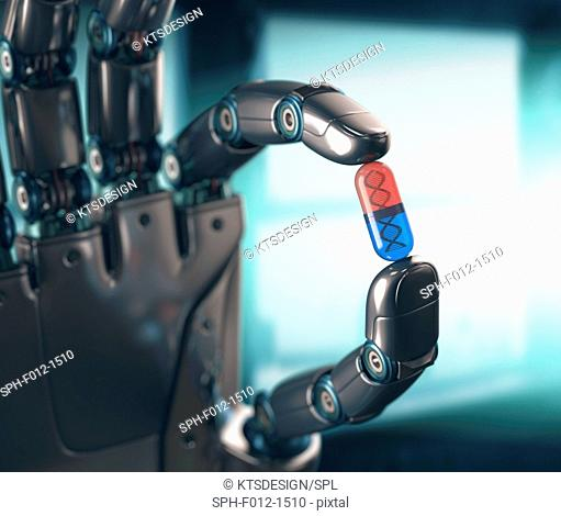 Robotic hand holding capsule with DNA