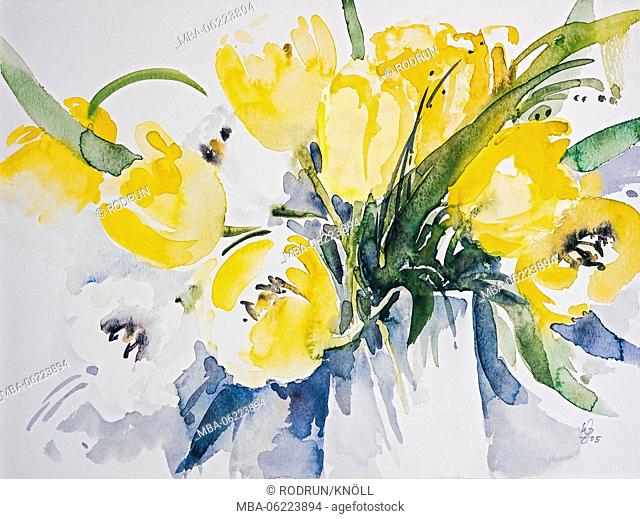 Aquarelle by Waltraud Zizelmann, Yellow tulips in a glass vase