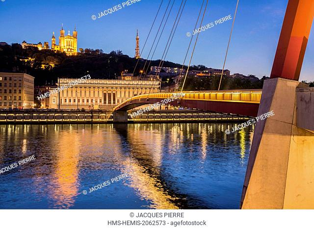 France, Rhone, Lyon, historical site listed as World Heritage by UNESCO, gateway of the Palace of Justice on the Saone connecting the district Cordeliers with...