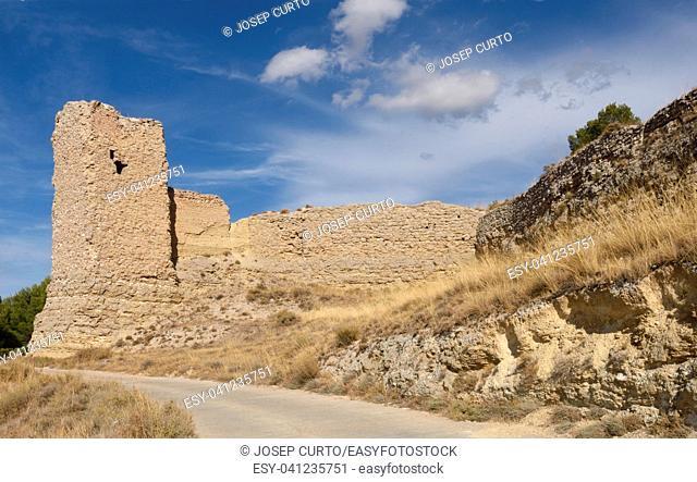 Walls Castle of Ayab in Calatayud, Zaragoza province, Aragon, Spain
