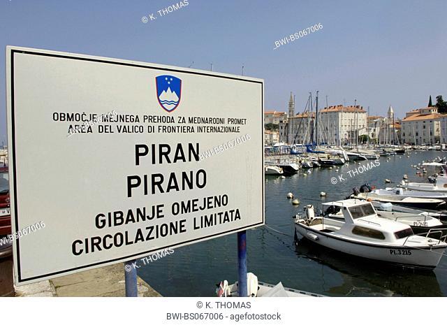 Piran, sign, bilingual, slovenian, italian, Slovenia, Southern Slovenia, Piran