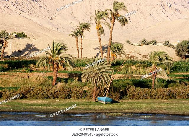 Felucca On The Nile River Between Esna And Luxor, Qina, Egypt