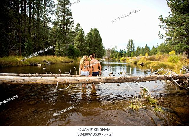 Rear view of romantic young couple sitting on fallen tree in river, Lake Tahoe, Nevada, USA