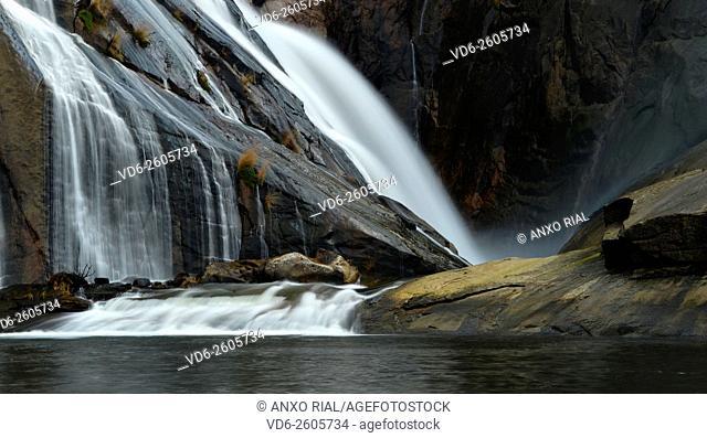Spain. Galicia. A Corunna. Waterfall of the river Xallas. Monte Pindo. Rias Baixas