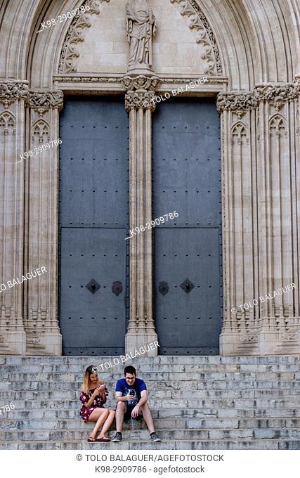 Church of Santa Eulalia, fachada principal, Mallorca, Balearic Islands, Spain