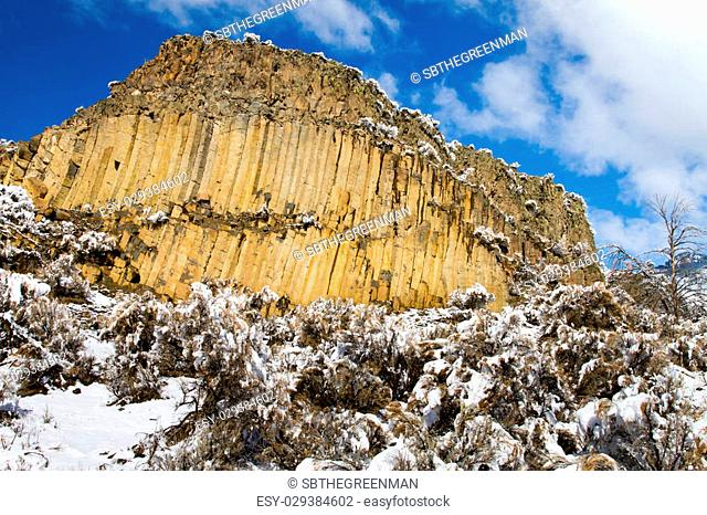 a columnar basalt cliff outside of Yellowstone National Park